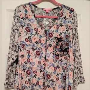 Woman Within Floral Print Hi-Lo Top Med